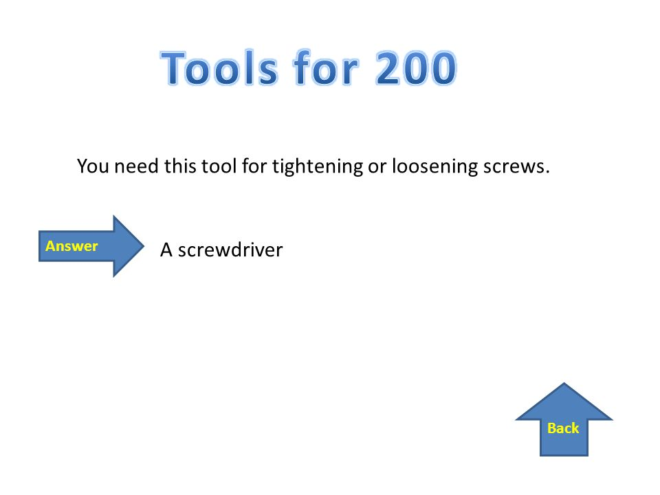 Back Answer You need this tool for tightening or loosening screws. A screwdriver