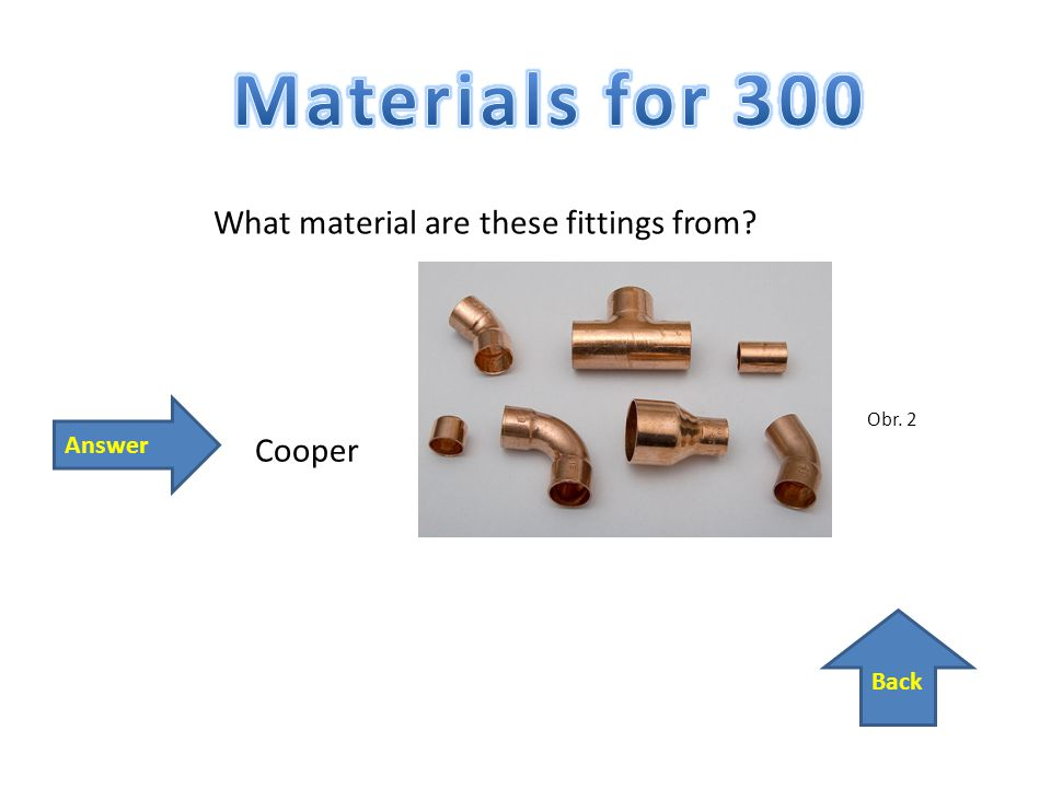 Back Answer Cooper What material are these fittings from Obr. 2