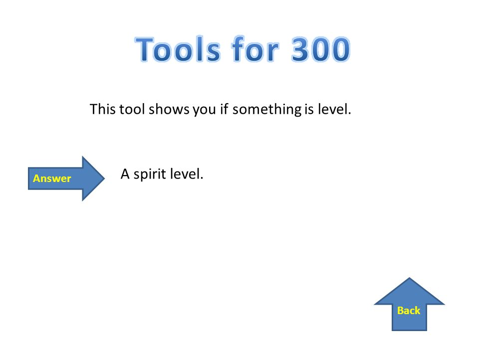 Back Answer This tool shows you if something is level. A spirit level.