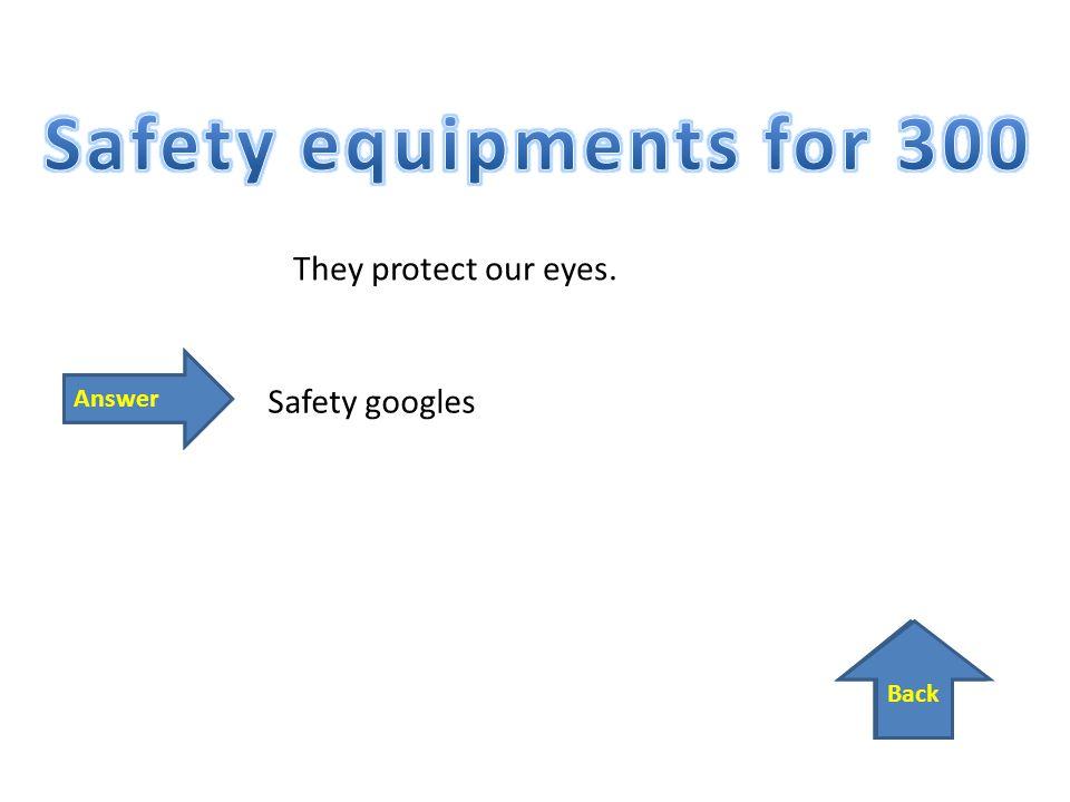 Zpět Odpověď Back Answer They protect our eyes. Safety googles