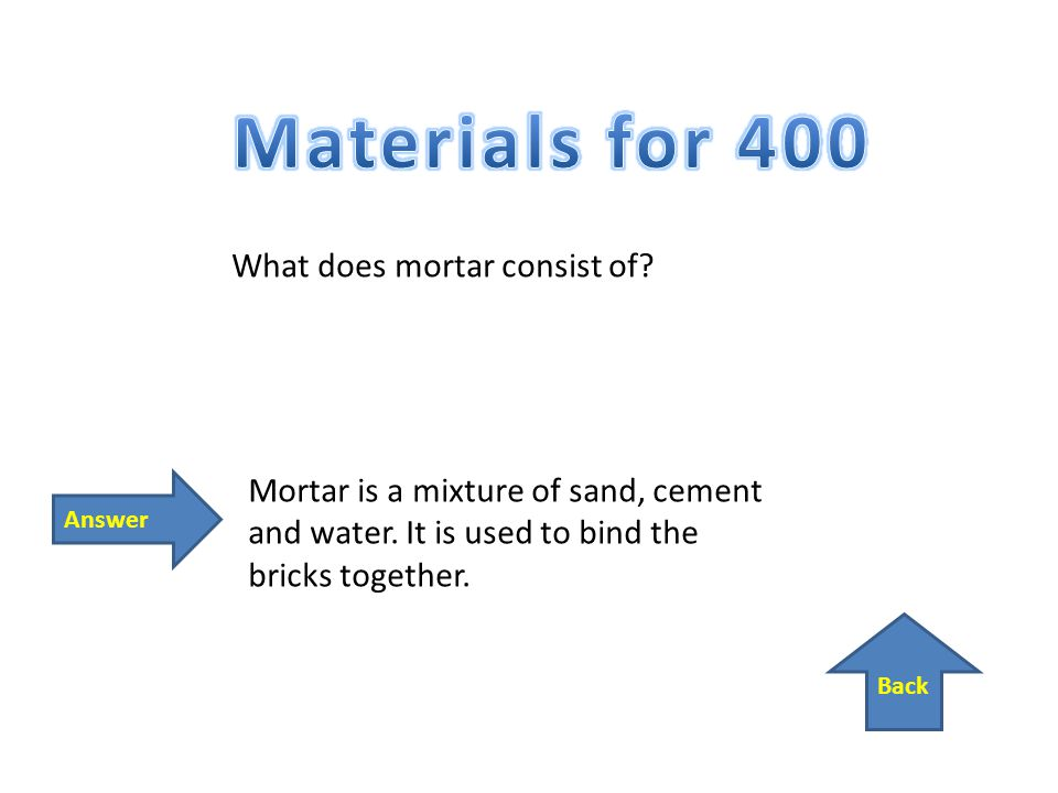 Back Answer What does mortar consist of. Mortar is a mixture of sand, cement and water.