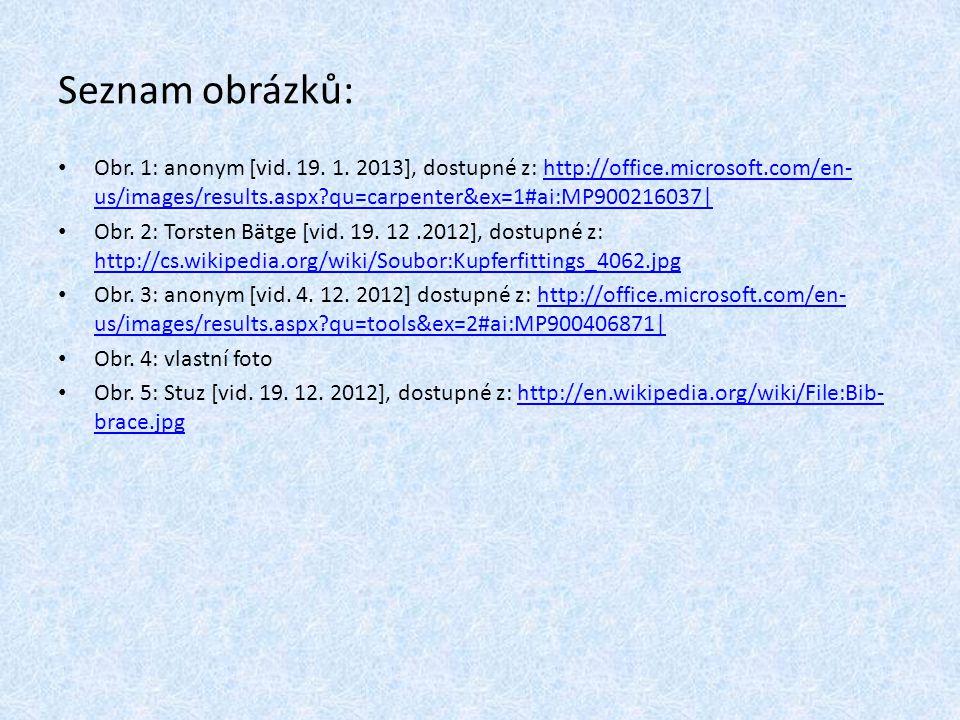 Seznam obrázků: Obr. 1: anonym [vid. 19. 1. 2013], dostupné z: http://office.microsoft.com/en- us/images/results.aspx?qu=carpenter&ex=1#ai:MP900216037
