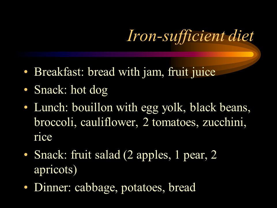Iron-sufficient diet Breakfast: bread with jam, fruit juice Snack: hot dog Lunch: bouillon with egg yolk, black beans, broccoli, cauliflower, 2 tomatoes, zucchini, rice Snack: fruit salad (2 apples, 1 pear, 2 apricots) Dinner: cabbage, potatoes, bread