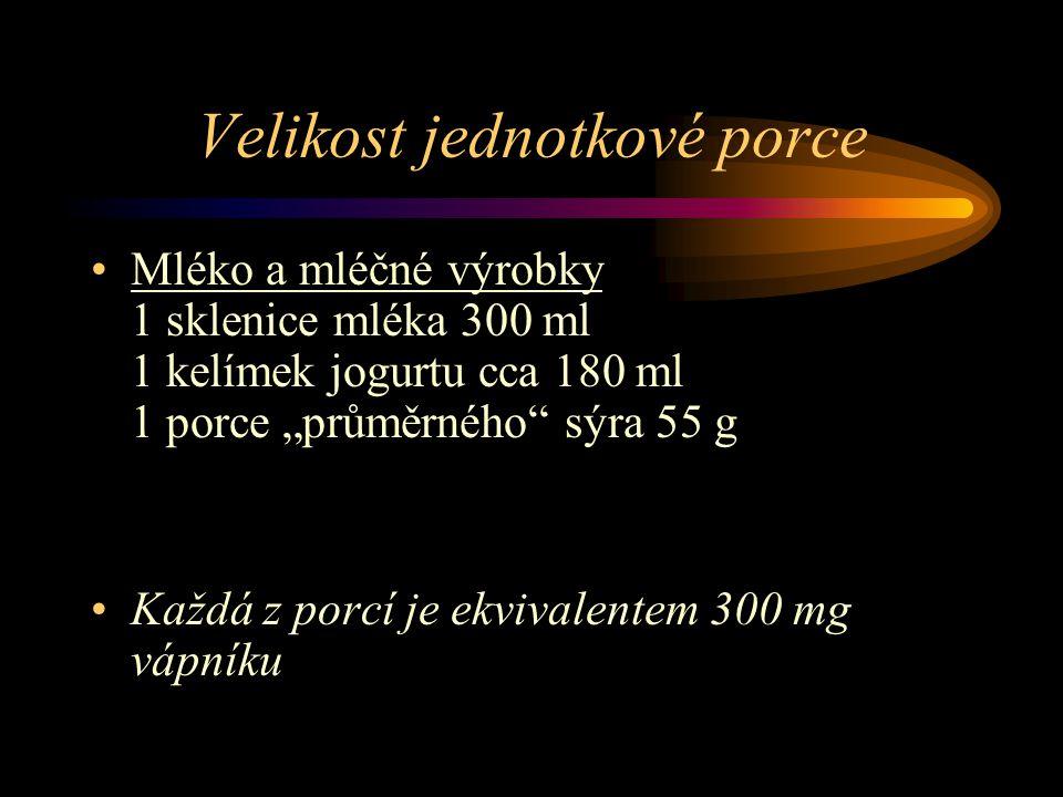 """Velikost jednotkové porce Mléko a mléčné výrobky 1 sklenice mléka 300 ml 1 kelímek jogurtu cca 180 ml 1 porce """"průměrného sýra 55 g Každá z porcí je ekvivalentem 300 mg vápníku"""