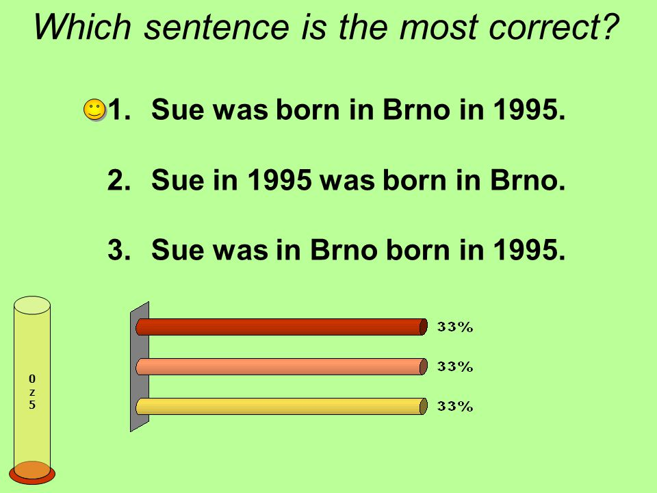 Which sentence is the most correct.1.Sue was born in Brno in 1995.