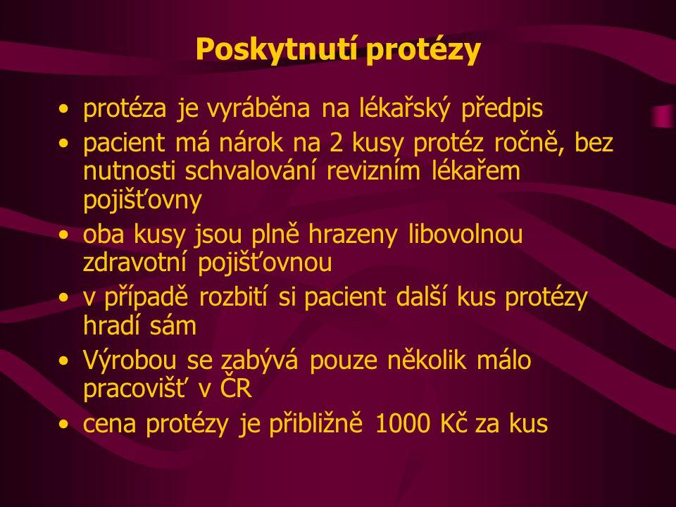 Poskytnutí protézy protéza je vyráběna na lékařský předpis pacient má nárok na 2 kusy protéz ročně, bez nutnosti schvalování revizním lékařem pojišťovny oba kusy jsou plně hrazeny libovolnou zdravotní pojišťovnou v případě rozbití si pacient další kus protézy hradí sám Výrobou se zabývá pouze několik málo pracovišť v ČR cena protézy je přibližně 1000 Kč za kus