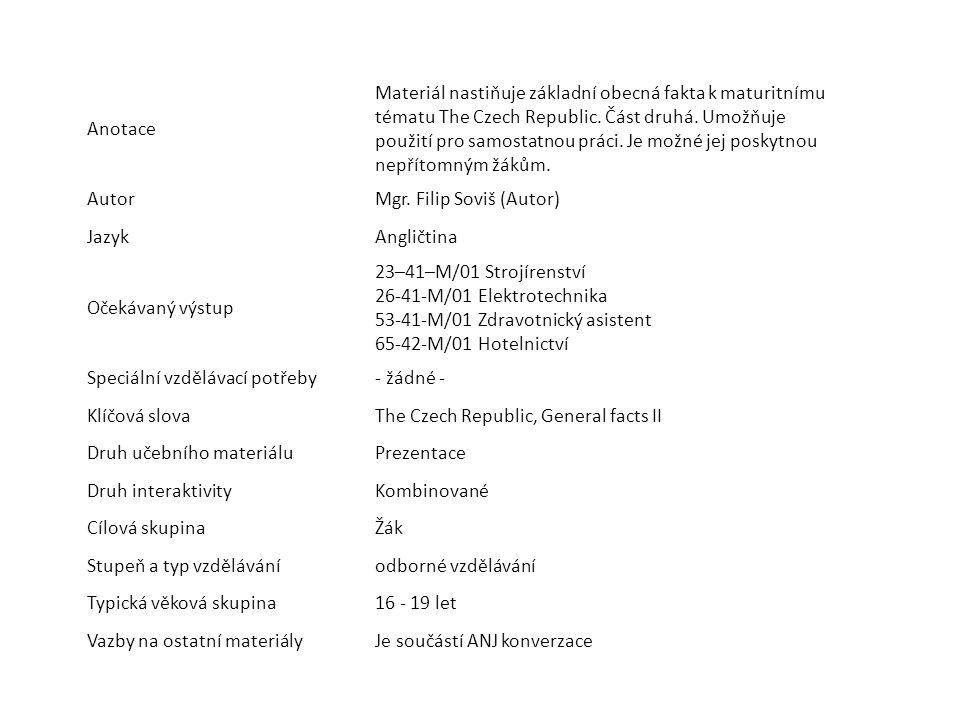 Anotace Materiál nastiňuje základní obecná fakta k maturitnímu tématu The Czech Republic. Část druhá. Umožňuje použití pro samostatnou práci. Je možné
