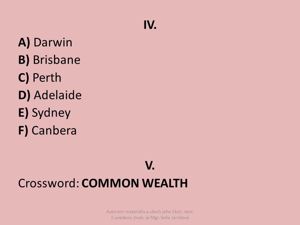 IV. A) Darwin B) Brisbane C) Perth D) Adelaide E) Sydney F) Canbera V.