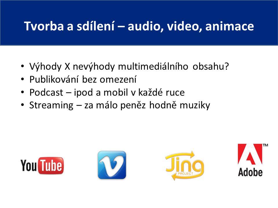 Tvorba a sdílení – audio, video, animace Výhody X nevýhody multimediálního obsahu.