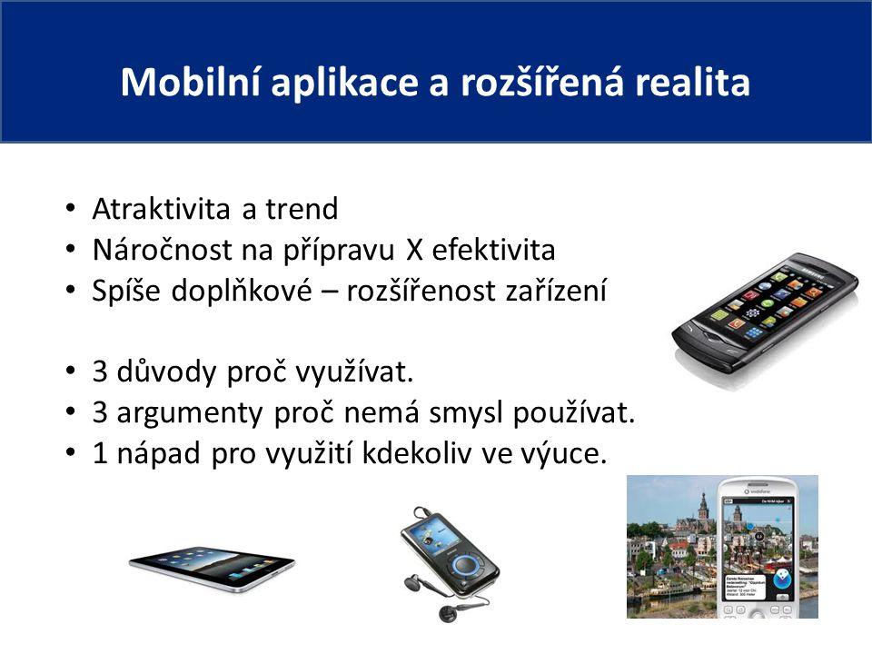 Mobilní aplikace a rozšířená realita Atraktivita a trend Náročnost na přípravu X efektivita Spíše doplňkové – rozšířenost zařízení 3 důvody proč využívat.
