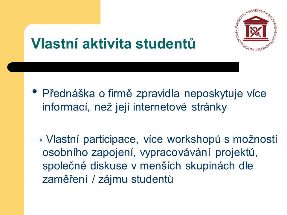 Přednáška o firmě zpravidla neposkytuje více informací, než její internetové stránky → Vlastní participace, více workshopů s možností osobního zapojení, vypracovávání projektů, společné diskuse v menších skupinách dle zaměření / zájmu studentů Vlastní aktivita studentů