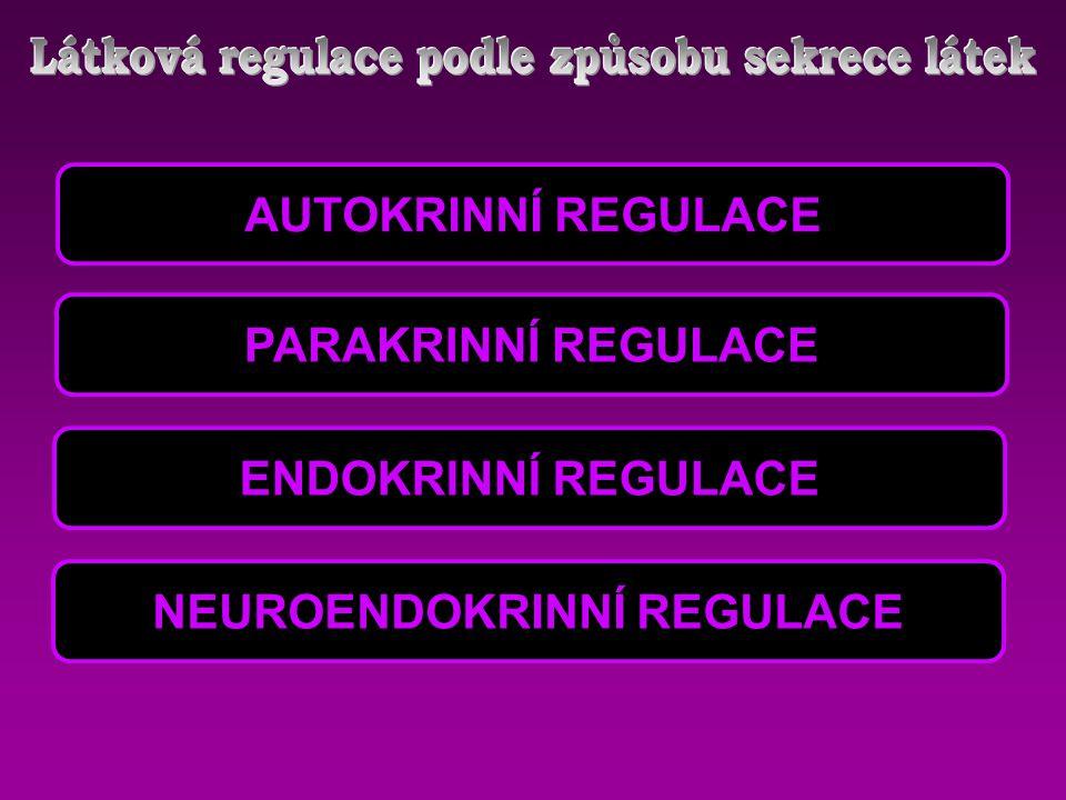 AUTOKRINNÍ REGULACE PARAKRINNÍ REGULACE ENDOKRINNÍ REGULACE NEUROENDOKRINNÍ REGULACE