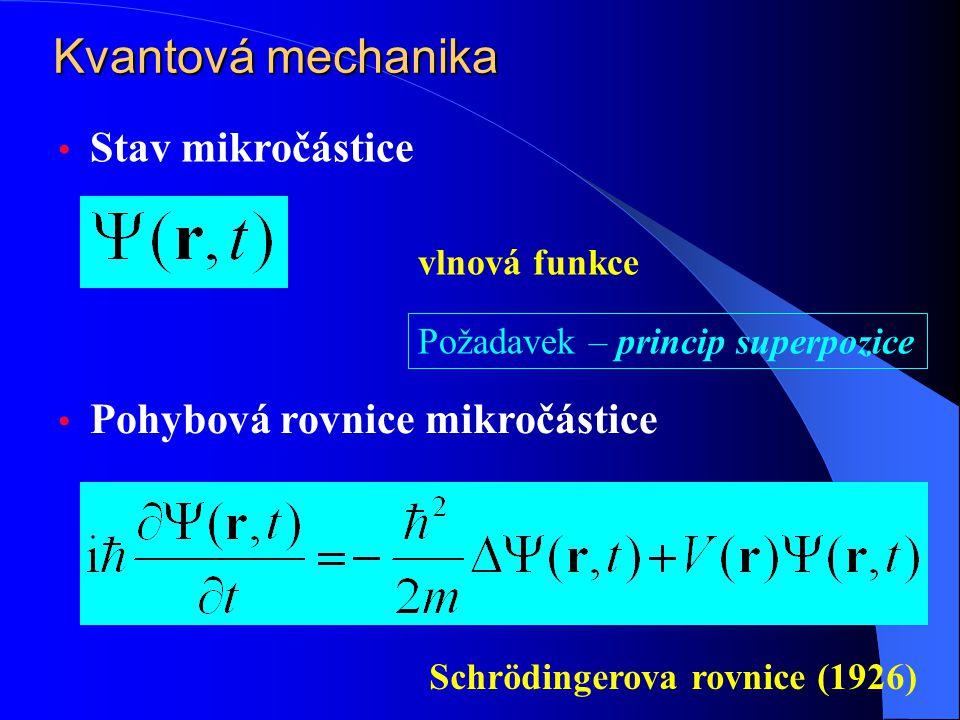 Stav mikročástice Pohybová rovnice mikročástice vlnová funkce Schrödingerova rovnice (1926) Požadavek – princip superpozice Kvantová mechanika