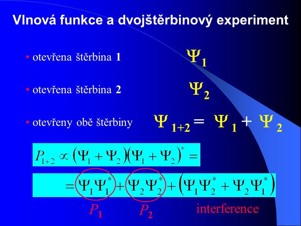 Vlnová funkce a dvojštěrbinový experiment otevřena štěrbina 1 otevřena štěrbina 2 otevřeny obě štěrbiny 11 22  1  2  1+2 =+ P2P2 P1P1 interference
