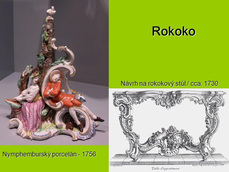 Rokoko Nymphemburský porcelán - 1756 Návrh na rokokový stůl / cca. 1730