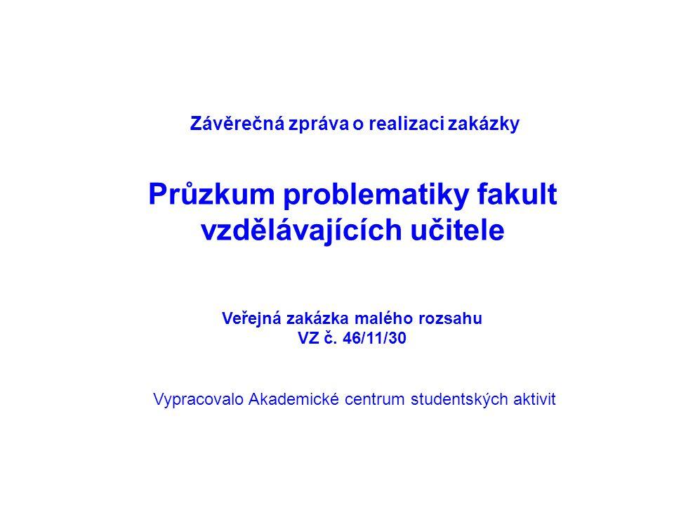 Závěrečná zpráva o realizaci zakázky Průzkum problematiky fakult vzdělávajících učitele Veřejná zakázka malého rozsahu VZ č.