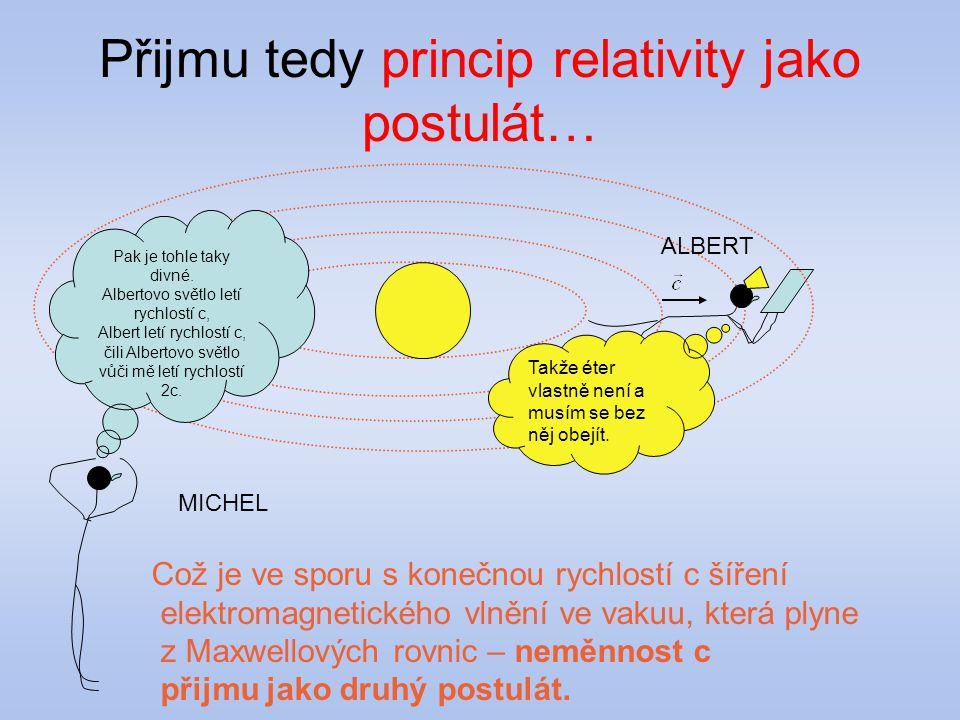 Přijmu tedy princip relativity jako postulát… Což je ve sporu s konečnou rychlostí c šíření elektromagnetického vlnění ve vakuu, která plyne z Maxwell