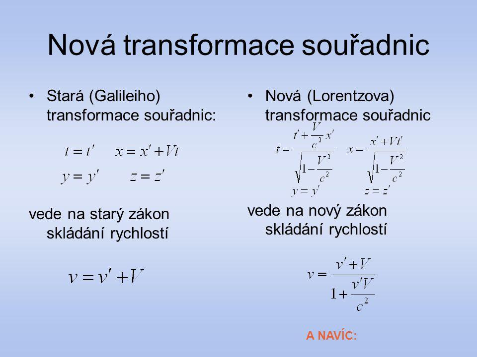 Nová transformace souřadnic Stará (Galileiho) transformace souřadnic: vede na starý zákon skládání rychlostí Nová (Lorentzova) transformace souřadnic