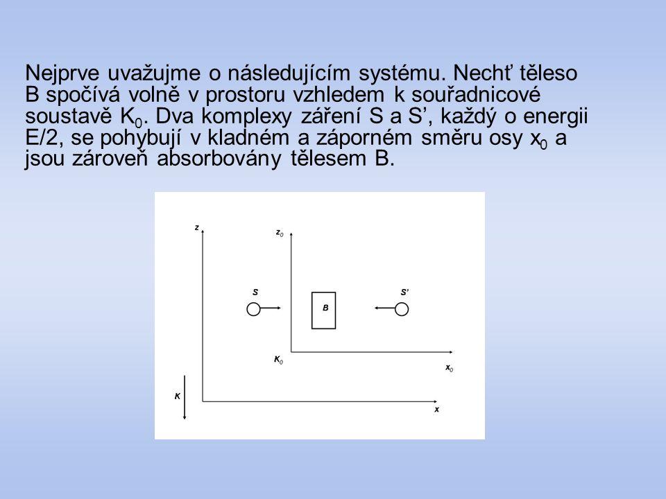 Nejprve uvažujme o následujícím systému. Nechť těleso B spočívá volně v prostoru vzhledem k souřadnicové soustavě K 0. Dva komplexy záření S a S', kaž