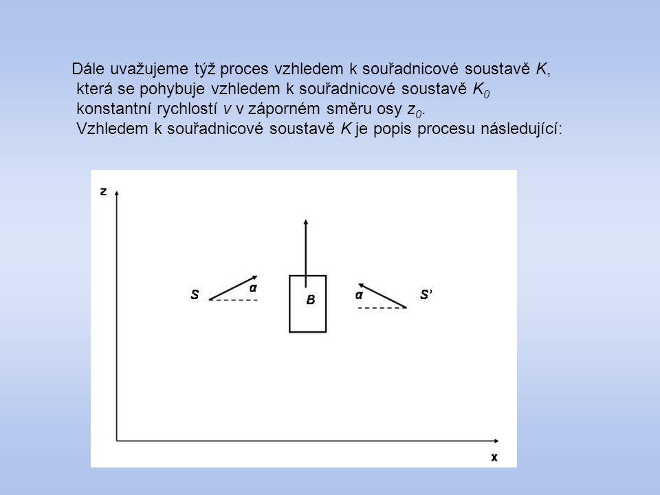 Dále uvažujeme týž proces vzhledem k souřadnicové soustavě K, která se pohybuje vzhledem k souřadnicové soustavě K 0 konstantní rychlostí v v záporném