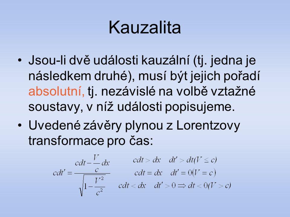 Kauzalita Jsou-li dvě události kauzální (tj. jedna je následkem druhé), musí být jejich pořadí absolutní, tj. nezávislé na volbě vztažné soustavy, v n