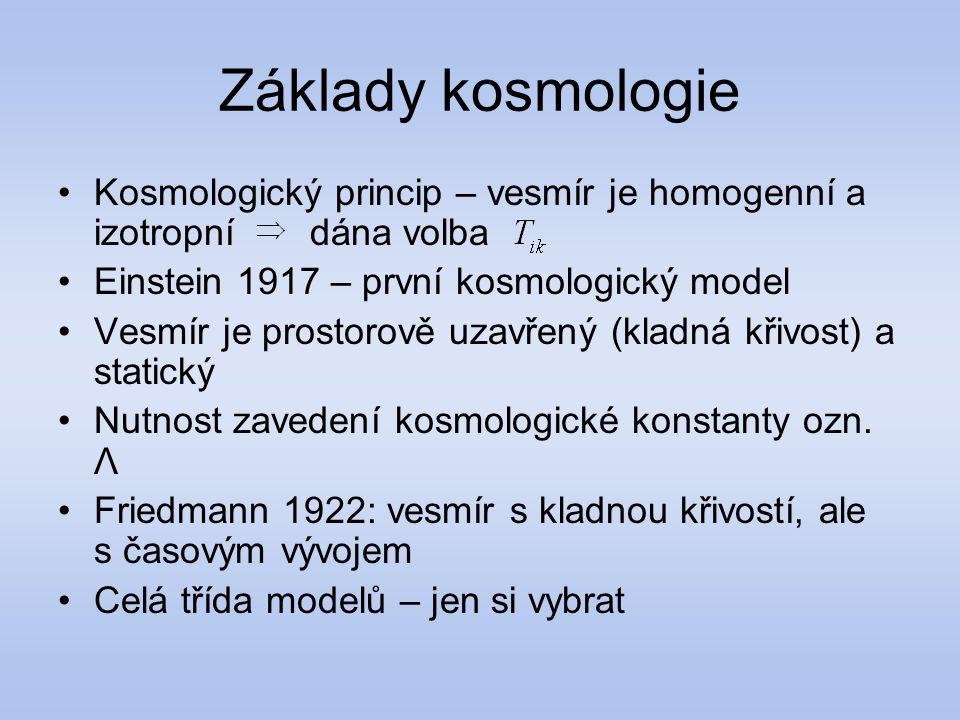Základy kosmologie Kosmologický princip – vesmír je homogenní a izotropní dána volba Einstein 1917 – první kosmologický model Vesmír je prostorově uza