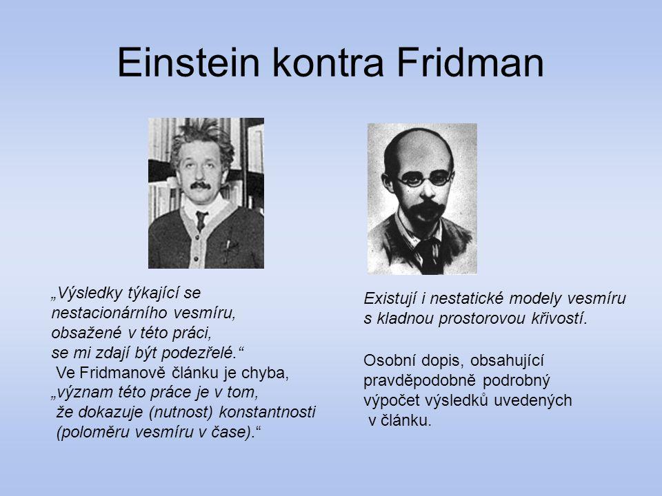 """Einstein kontra Fridman Existují i nestatické modely vesmíru s kladnou prostorovou křivostí. """"Výsledky týkající se nestacionárního vesmíru, obsažené v"""