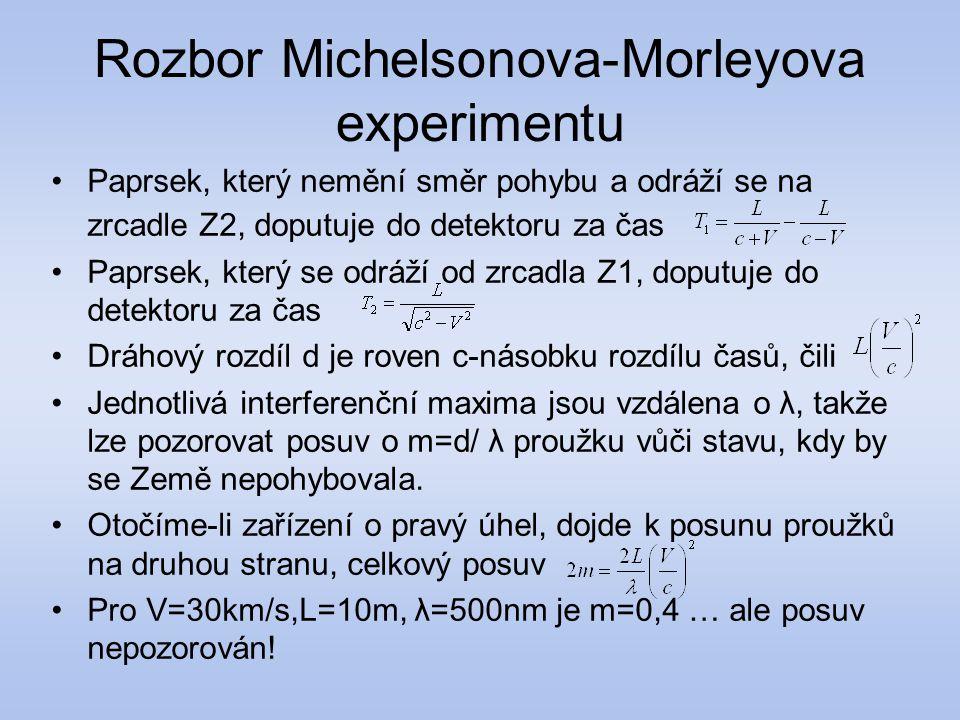 Rozbor Michelsonova-Morleyova experimentu Paprsek, který nemění směr pohybu a odráží se na zrcadle Z2, doputuje do detektoru za čas Paprsek, který se