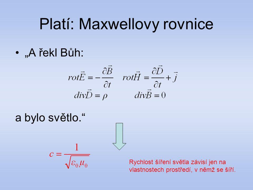 """Platí: Maxwellovy rovnice """"A řekl Bůh: a bylo světlo."""" Rychlost šíření světla závisí jen na vlastnostech prostředí, v němž se šíří."""