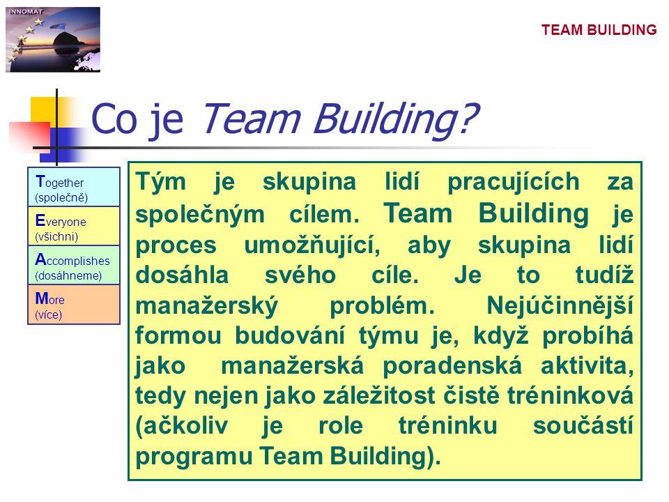 TEAM BUILDING Tým je skupina lidí pracujících za společným cílem. Team Building je proces umožňující, aby skupina lidí dosáhla svého cíle. Je to tudíž