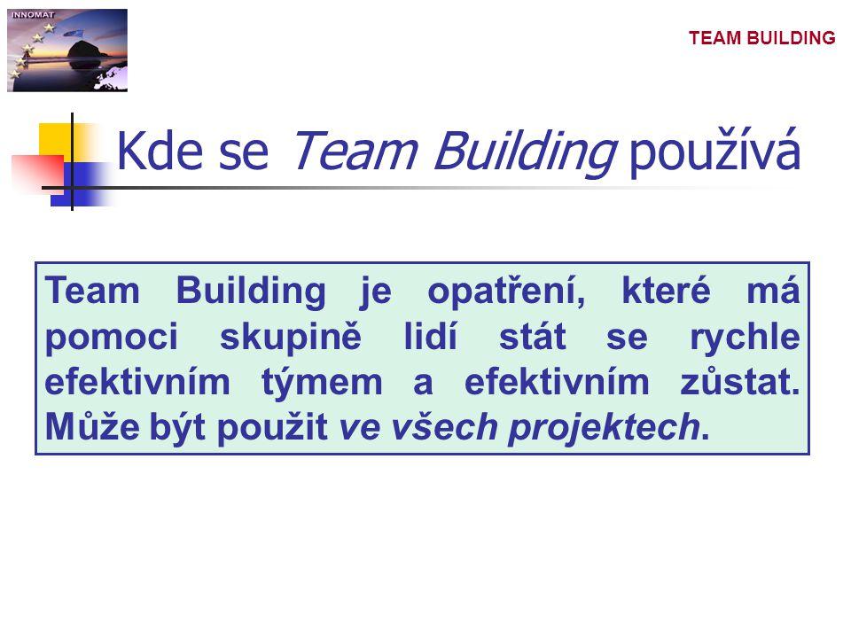 TEAM BUILDING Kde se Team Building používá Team Building je opatření, které má pomoci skupině lidí stát se rychle efektivním týmem a efektivním zůstat.
