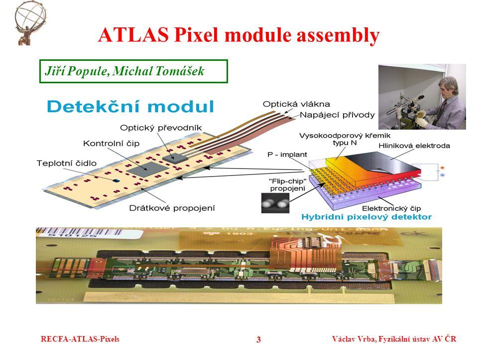 RECFA-ATLAS-PixelsVáclav Vrba, Fyzikální ústav AV ČR 3 ATLAS Pixel module assembly Jiří Popule, Michal Tomášek