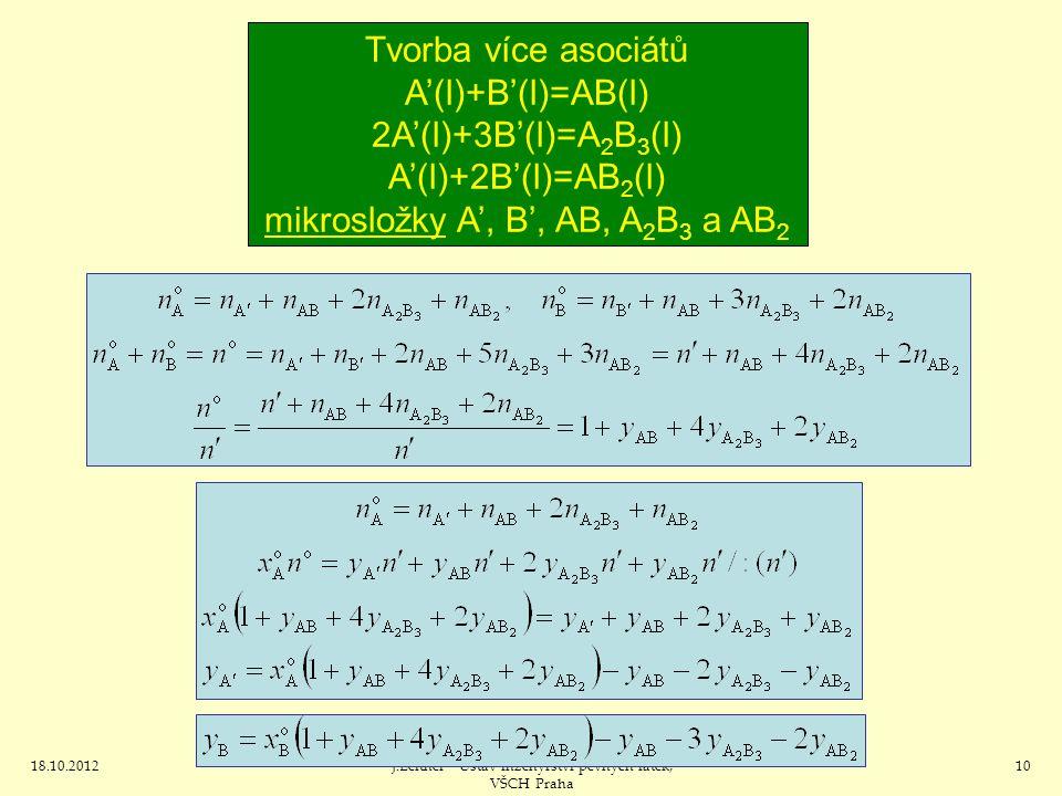 18.10.2012J.Leitner - Ústav inženýrství pevných látek, VŠCH Praha 10 Tvorba více asociátů A'(l)+B'(l)=AB(l) 2A'(l)+3B'(l)=A 2 B 3 (l) A'(l)+2B'(l)=AB 2 (l) mikrosložky A', B', AB, A 2 B 3 a AB 2