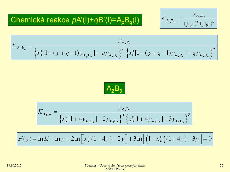 18.10.2012J.Leitner - Ústav inženýrství pevných látek, VŠCH Praha 20 Chemická reakce pA'(l)+qB'(l)=A p B q (l) A2B3A2B3