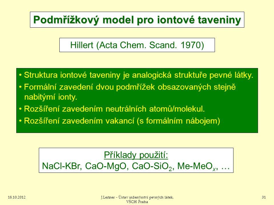 18.10.2012J.Leitner - Ústav inženýrství pevných látek, VŠCH Praha 31 Podmřížkový model pro iontové taveniny Hillert (Acta Chem. Scand. 1970) Struktura