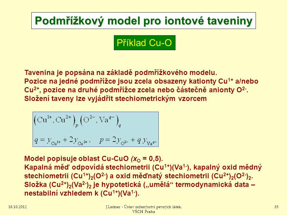 18.10.2012J.Leitner - Ústav inženýrství pevných látek, VŠCH Praha 35 Tavenina je popsána na základě podmřížkového modelu. Pozice na jedné podmřížce js