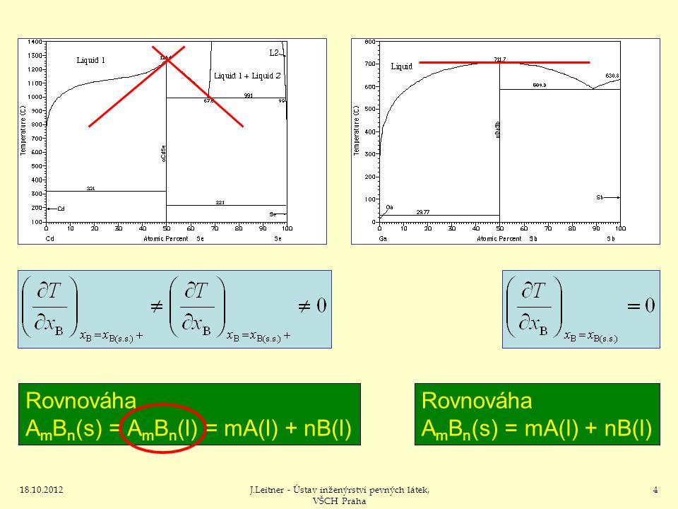 18.10.2012J.Leitner - Ústav inženýrství pevných látek, VŠCH Praha 4 Rovnováha A m B n (s) = A m B n (l) = mA(l) + nB(l) Rovnováha A m B n (s) = mA(l) + nB(l)