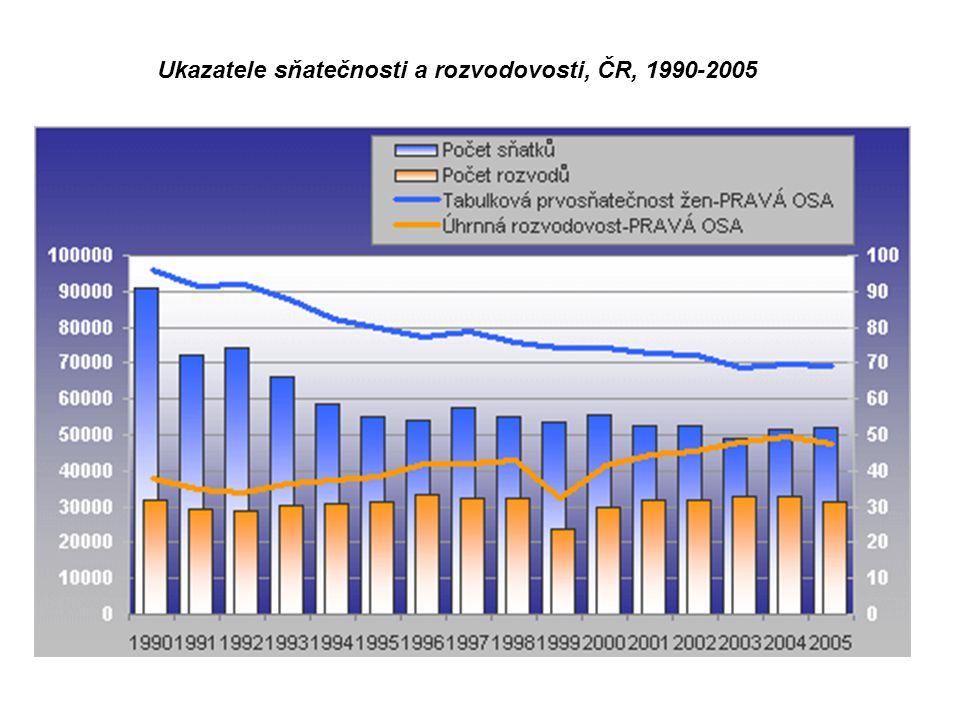 Ukazatele sňatečnosti a rozvodovosti, ČR, 1990-2005