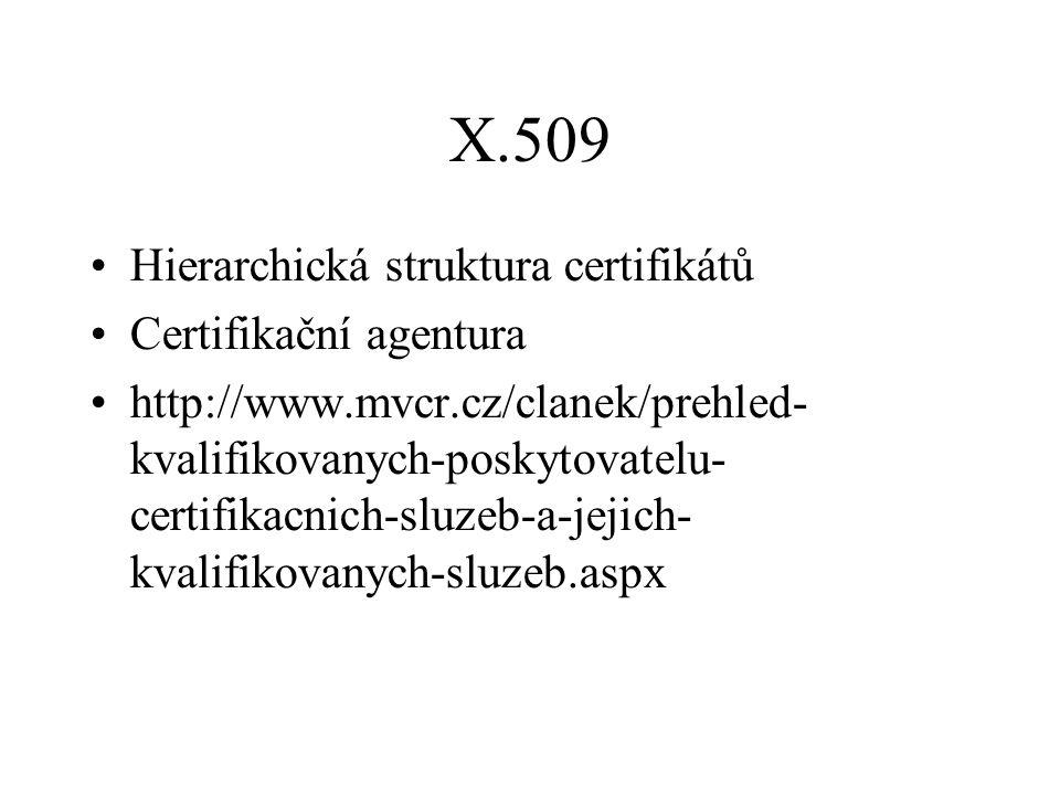 X.509 Hierarchická struktura certifikátů Certifikační agentura http://www.mvcr.cz/clanek/prehled- kvalifikovanych-poskytovatelu- certifikacnich-sluzeb