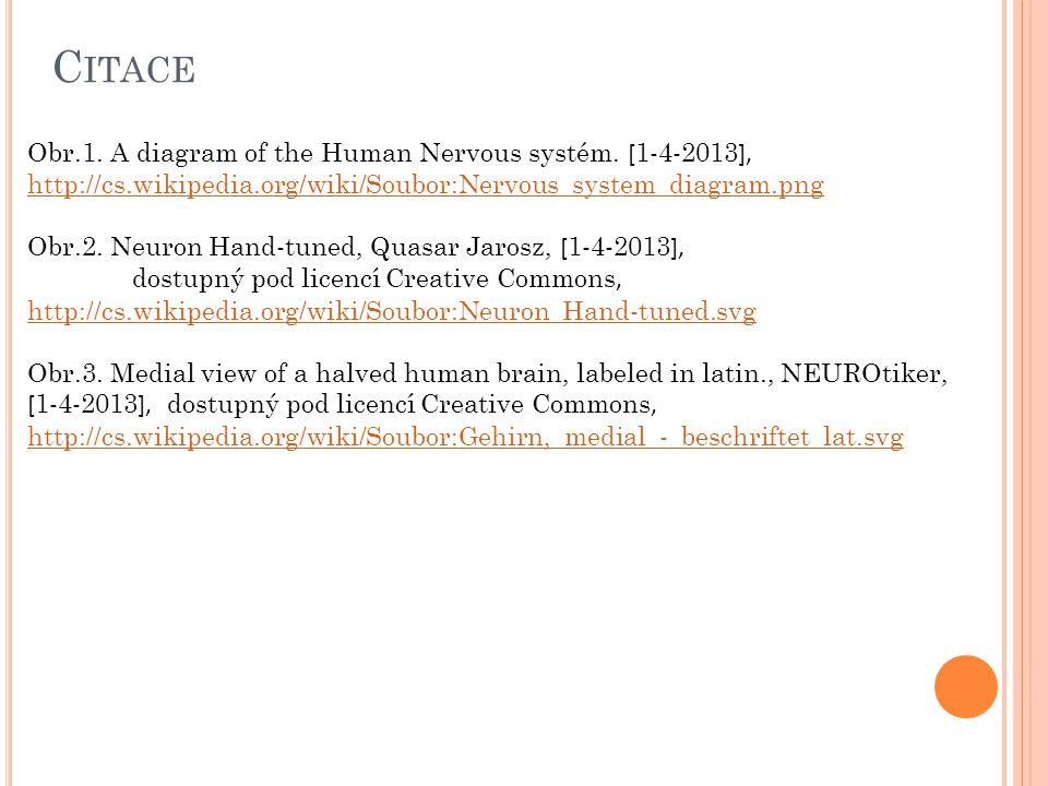 C ITACE Obr.1. A diagram of the Human Nervous systém. [ 1-4-2013 ], http://cs.wikipedia.org/wiki/Soubor:Nervous_system_diagram.png http://cs.wikipedia