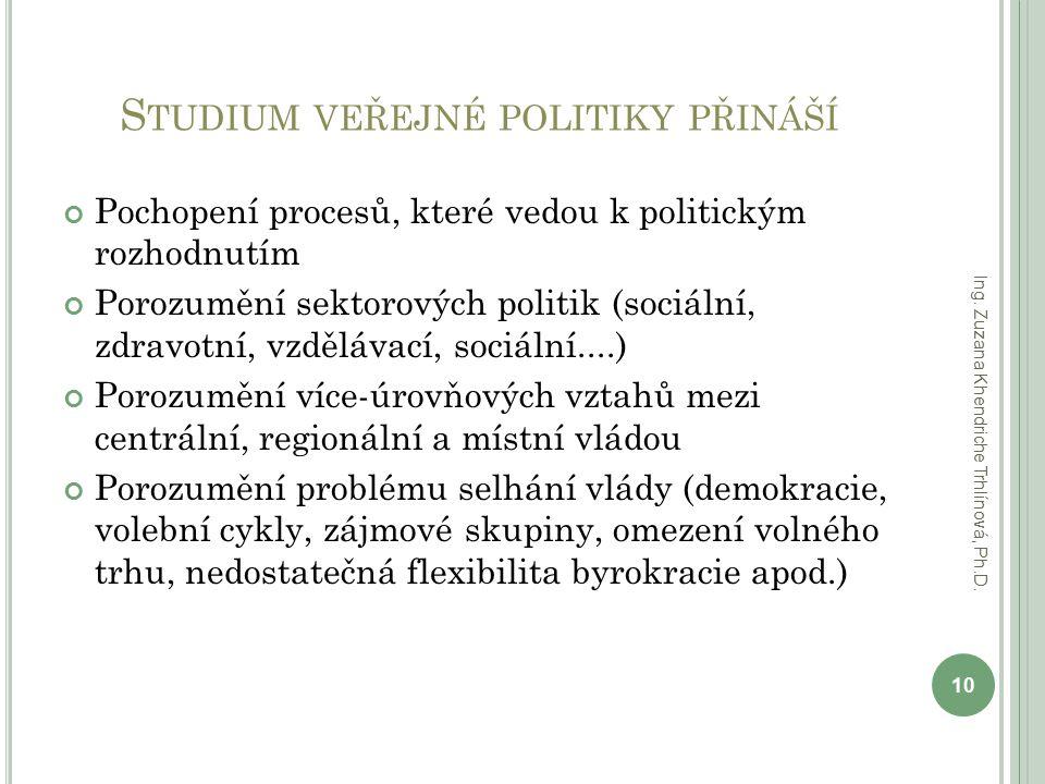S TUDIUM VEŘEJNÉ POLITIKY PŘINÁŠÍ Pochopení procesů, které vedou k politickým rozhodnutím Porozumění sektorových politik (sociální, zdravotní, vzděláv