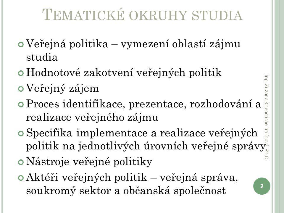 T EMATICKÉ OKRUHY STUDIA Veřejná politika – vymezení oblastí zájmu studia Hodnotové zakotvení veřejných politik Veřejný zájem Proces identifikace, pre