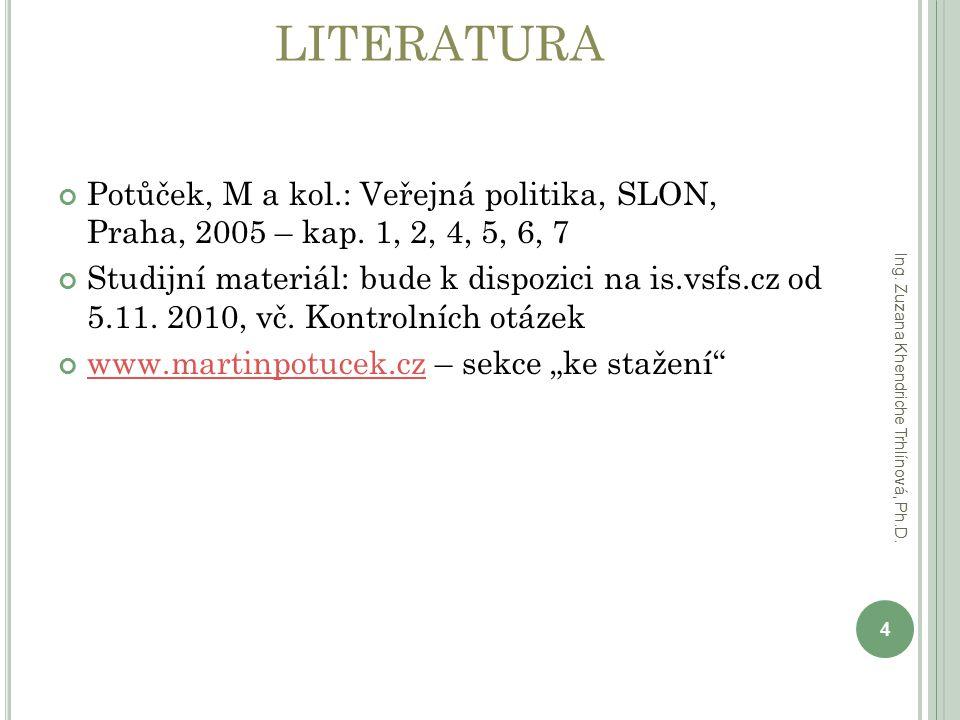 LITERATURA Potůček, M a kol.: Veřejná politika, SLON, Praha, 2005 – kap. 1, 2, 4, 5, 6, 7 Studijní materiál: bude k dispozici na is.vsfs.cz od 5.11. 2