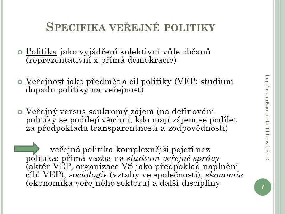 S PECIFIKA VEŘEJNÉ POLITIKY Politika jako vyjádření kolektivní vůle občanů (reprezentativní x přímá demokracie) Veřejnost jako předmět a cíl politiky