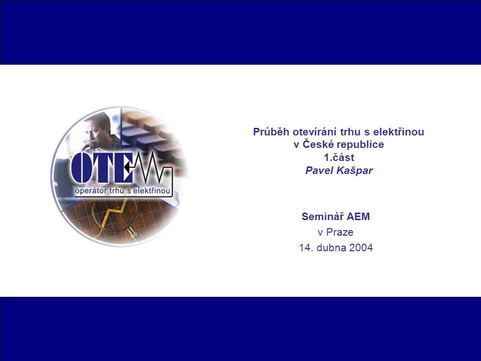 2 Obsah 1.části přednášky  Rozvoj základních a podpůrných činností trhu s elektřinou na půdě OTE od 1.1.2002 až do současnosti.