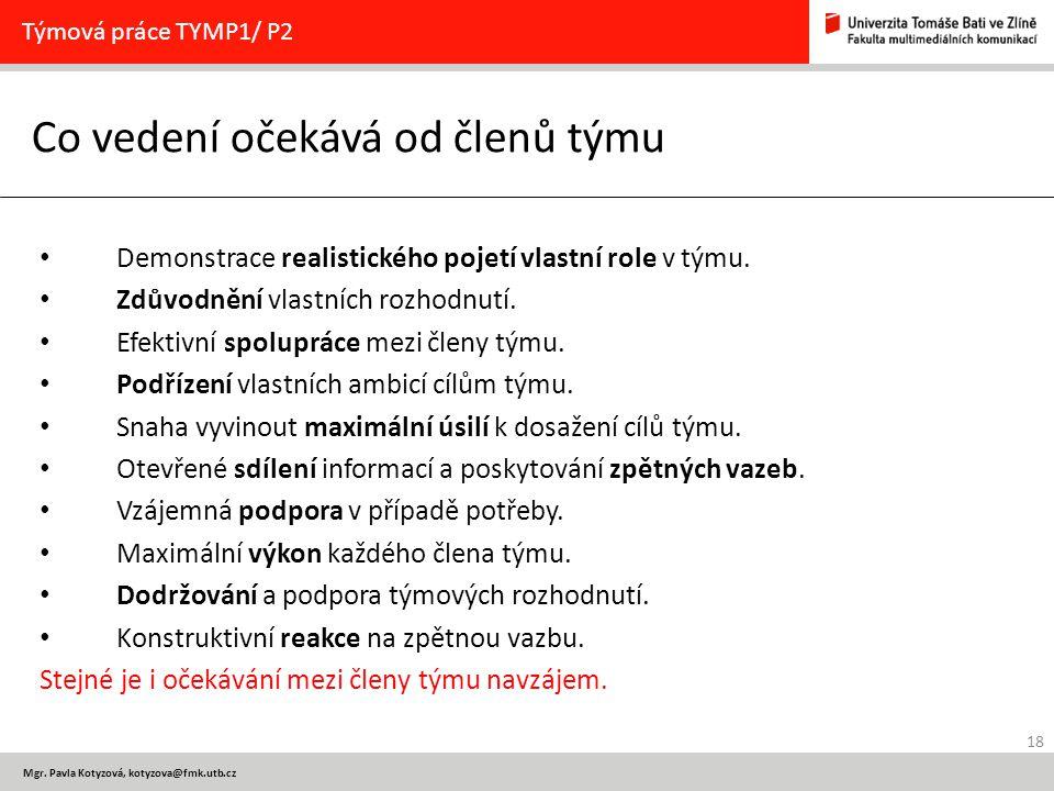 18 Mgr. Pavla Kotyzová, kotyzova@fmk.utb.cz Co vedení očekává od členů týmu Týmová práce TYMP1/ P2 Demonstrace realistického pojetí vlastní role v tým