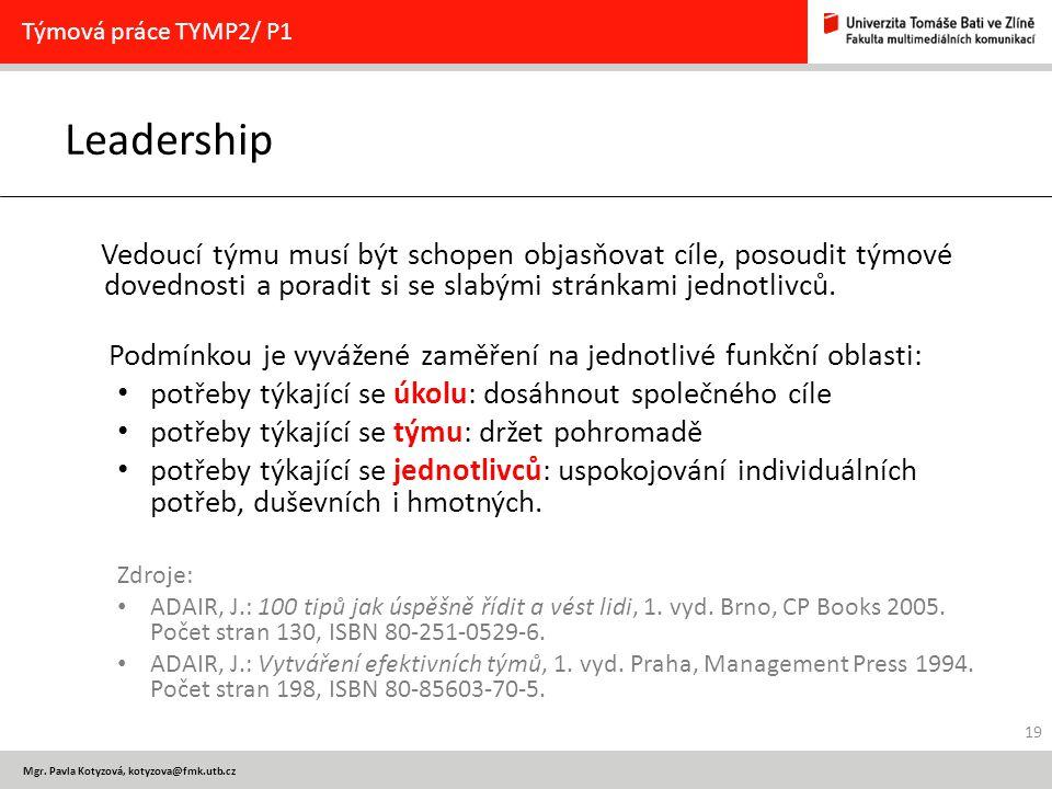 Mgr. Pavla Kotyzová, kotyzova@fmk.utb.cz Leadership Vedoucí týmu musí být schopen objasňovat cíle, posoudit týmové dovednosti a poradit si se slabými