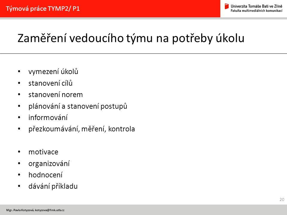 Mgr. Pavla Kotyzová, kotyzova@fmk.utb.cz Zaměření vedoucího týmu na potřeby úkolu vymezení úkolů stanovení cílů stanovení norem plánování a stanovení