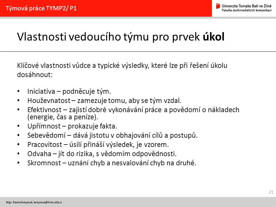 Mgr. Pavla Kotyzová, kotyzova@fmk.utb.cz Vlastnosti vedoucího týmu pro prvek úkol Klíčové vlastnosti vůdce a typické výsledky, které lze při řešení úk
