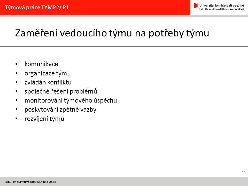 Mgr. Pavla Kotyzová, kotyzova@fmk.utb.cz Zaměření vedoucího týmu na potřeby týmu komunikace organizace týmu zvládán konfliktu společné řešení problémů